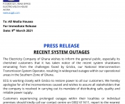 Press Release: Recent System Outages / 9th March 2021